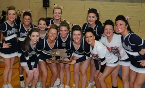 The cheerleaders placed first in the regional winter cheerleading competition on March 2. photo by Kelley Reale