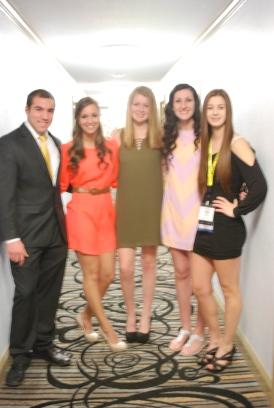 Juniors Dennis McPeck, Katie Delorey, seniors Molly Garrity, Devin Gilmore, and junior Jenna Novio