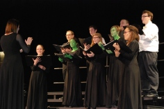 "Chorus teacher Jennifer Hartnett conducts the Rockland High Chamber Choir a performance of ""Dear Old Shiz"" from the musical ""Wicked"""