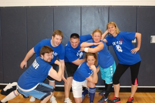 The Rockland Middle School Dodgeball team (from left) Ryan Austin, Greg Banks, Chuck McDonald, Laurie Donovan, Diana Mitchell, and Patricia Bouzan