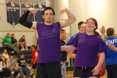 Matt Nicholson and Ally Cerrato of the Purple Cobras celebrate their second straight win in the Rockland High Dodgeball tournament