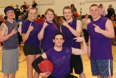 The Purple Cobras celebrate their second victory (Back from left) RJ Johnston, Brianna Starkey, Ally Cerrato, Jonathan Turner, Andy Reardon (front) Matt Nicholson