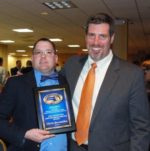Dr. Cron and Chris Burnieika at the banquet where Chris received his award.