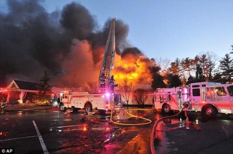 Lake View Pavilion burning down on April 5th.