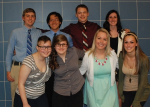(From left) Josh Lutts, Jace Williams, Jon Soo Hoo, Olivia Olsen, Bobby Gasdia, Jackie Carlson, Devin Gilmore, and Brittni Lambiase celebrate the completion of the 2014 Spellman Oratorical Competition