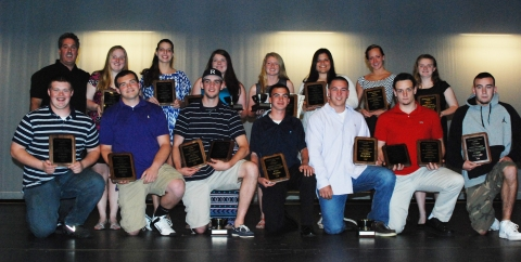 Senior Award Winners: Front L to R: Ethan Rooney, Gene Dorney, Matt Nicholson, Kyle Scheim, Andrew Reardon, Joe Rizzotto, Colin Aylward. Back L to R: Gary Graziano, Kayla Frazer, Lilly Margolis, Ally Cerratto, Molly Garrity, Goergia Panagiotidis, Leah Benson and Sami Murray