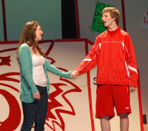 Alyssa Collins and Andrew Frazer in a scene from High School Musical.  Photo by Sarah Margolis