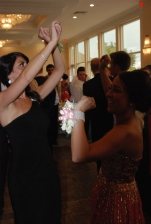 Jenny Dell and Kelsey Joyce dancing at Indian Pond