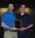 Kyle Scheim received his award from his soccer coach Rich MacAllister