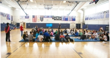 One half of the seniors watch an instructional video for Child CPR. Photo by Mitchell Ryan