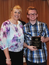 Assistant Principal Susan Patton presented freshman Evan Murphy with his Academic Achievement Award for Social Studies and Physical Education.