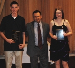 Sophomores Matthew Kirslis and Erika Wiley received a Foreign Language Award from Mr. Moscoso.
