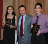 Freshmen Yousra Bendarkawi and Sean Vo received their Foreign Language Achievement Awards from Spanish teacher, Jorge Moscoso.