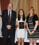 Freshman Luana Lima was presented with the Overall Outstanding Academic Achiever Award by Superintendent Joh Retchless and Guidance Director Melanie Shaw.