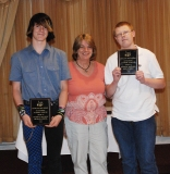 Sophomores Michael Rocha (left) and John Yandle won Technical Education Academic Achievement Awards, presented to them by Technical Education Department Head, Brenda Folsom.