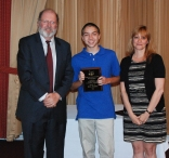 Ryan Sugrue received the Overall Outstanding Academic Achiever Award from Rockland Superintendent of Schools, John Retchless and RHS Guidance Director Melanie Shaw.