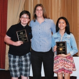 Freshmen Douglas Reardon and Vivian Nguyen received Academic Achievement Awards in Science. Science teacher Jennifer Wozniak made the presentation.