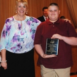 Assistant Principal Susan Patton presented sophomore Thomas Spengler with a Multi-Winner Award for his academic achievement in both Business and Mathematics.