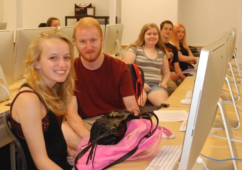Katie Gardner, Joey Marchetti, Sarah Boucher in Digital Media Class.