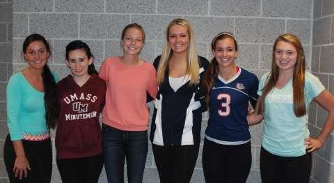 From left to right: Alex Pigeon, Nicole Cook, Danielle Whitcher, Brianna Starkey, Katie DeLorey, and Kara Penney (Photo by Haley Macray)