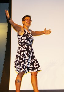 Ms. Sam Hoyo demonstrates her enthusiasm at the AP Rally