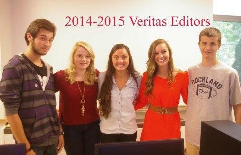 Editors of the Veritas this year are left to right: Jason Golemme, Arts Editor, Haley Macray, Web and Features Editor, Alexandra Pigeon and Katherine Delorey, Editors-in-Chief, Cameron Stuart, Sports Editor