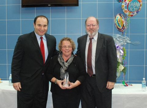 Adele Leonard at the recent celebration honoring her for her service to Rockland. To Adele's right is John Retchless, Superintendent of Schools