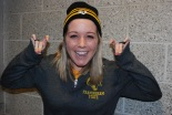 Jackie Carlson shows some Framingham State Ram pride.
