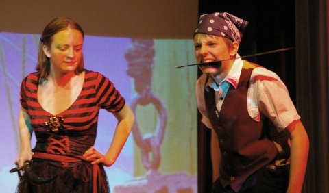 PJ Butler and Ella Engle played pirates in the second rehearsal; Butler also plays Captain Hook while Engle will play Wendy Darling in one of the weekend performances.