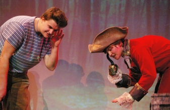 Chris Landy as Smee and Leah Dececco as Captain Hook