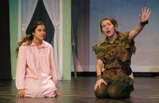 Genesis Rojas as Wendy and Sophie McLellan as Peter Pan during dress rehearsal