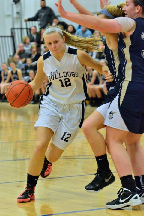 Kallie Morss played tough for the Lady Dogs against Coyle last night.