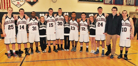 Senior players and cheerleaders: Andrew Frazer, Mike Leavitt, John Kamande, Maddie Daly, Mike Doherty, Liam Ball, Kelsey Girard, Leshon Crawford, Justin Nguyen, Krystin Killion, Ian MacDonald, Matt Clougherty and Joe Reardon.