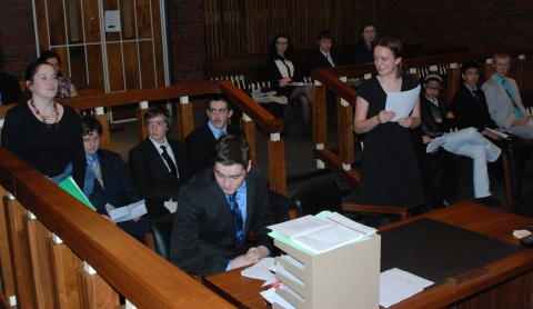 Mock Trial Team members went to Hingham District Court in December to practice in a courtroom setting. Veritas file photos