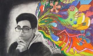 Dan Silva's charcoal and pastel self-portrait won a Silver Key