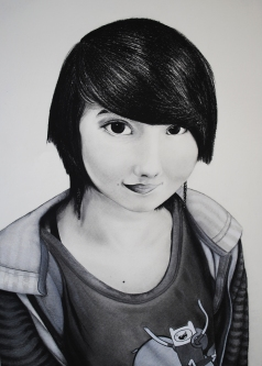Danielle Hill's charcoal self-portrait received a Silver Key award.
