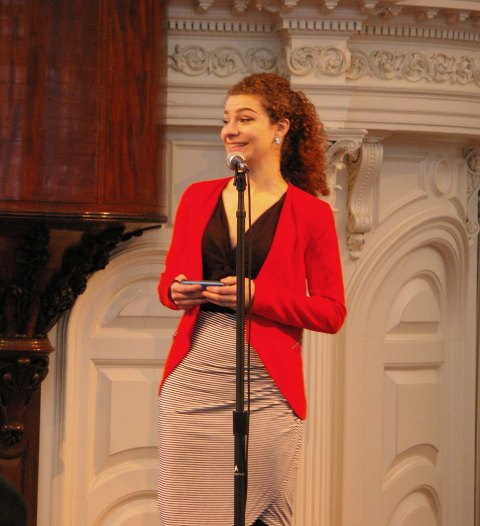Gabrielle Guarracino, served as one of the judges at Poetry Out Loud State Finals Sunday. Here she advises the contestants to keep their love and study of the arts strong no matter how impractical others label them.