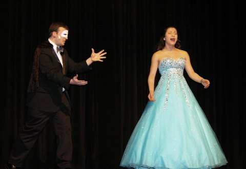"Cameron Estrella and Genesis Rojas in ""Phantom of the Opera"""