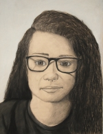 Taylor Whitley's charcoal self-portrait won an Honorable Mention award