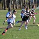 Junior Liz Knobel runs up the field.