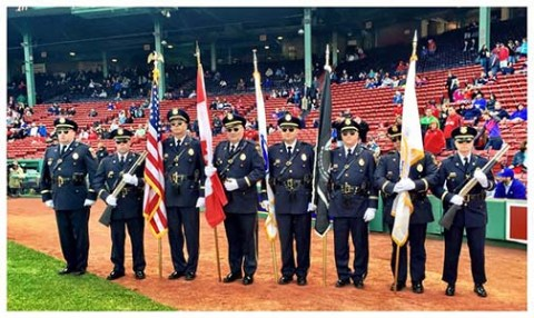 The Rockland Police Department Color Guard at Fenway Park on April 29
