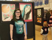 Hailey Smith with her self portrait.