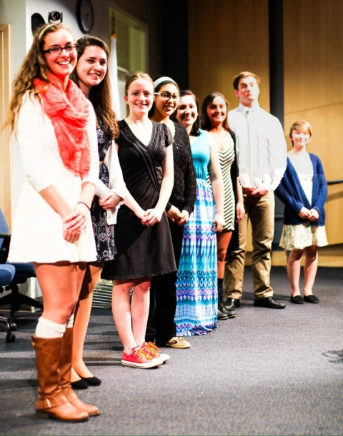 The 2015 Spellman Oratorical Contest presenters from left to right: Katie DeLorey, Alyssa Collins, Ella Engle, Iman Bendarkawi, Emma McGarry, Alex Pigeon, Pearse McNally, and Dani Hill.