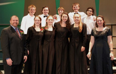 Seniors in band and chorus: Back row l to r: Ian Welch, Michael Bailey, PJ Butler, Markus Rohwetter, Dan Silva.  Front row: Mr. Michael Coogan, Ella Engle, Kaitlyn Mott, Alyssa Collins,Samantha Poirier, Mrs. Jennifer Hartnett