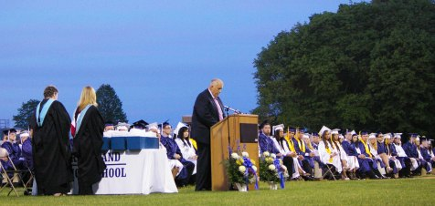 Richard Phelps, chairman of the Rockland School Committee speaks to the seniors.