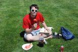 Zach Murphy enjoys some watermelon.