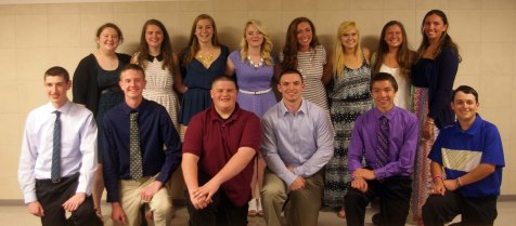Junior inductees to the NHS: Back row left to right: Celia Rosa, Kate Dorney, Sarah Margolis, Haley Macray, Ashley Pezzella, Meghan Foster, Lexie Carchedi, and Caroline Kilduff. Front row left to right: Matt Kirslis, Jared Ochenduszko, Tom Spengler, Kevin Levesque, Ryan Sugrue, and Mark Ewell.