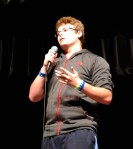 Sophomore Jake Hughes expresses emotion while telling his story. photo by Jurnee Dunn