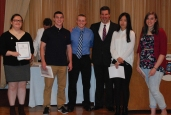 Receiving Academic Excellence Certificates and Academic Letters from the Junior Class were Celia Rosa, Joseph Kimball, Michael Ahern, Fanting Zhou and Rebeca Portela. Angela Turner (not pictured) also received an award.