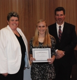 Julia DiCienzo received a Leadership Award from Asst. Principal Kathy Paulding and Principal Alan Cron.